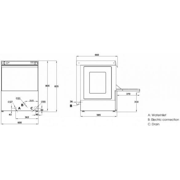 Maxima ipari mosogatógép VN-500, 400V, 5,5kW