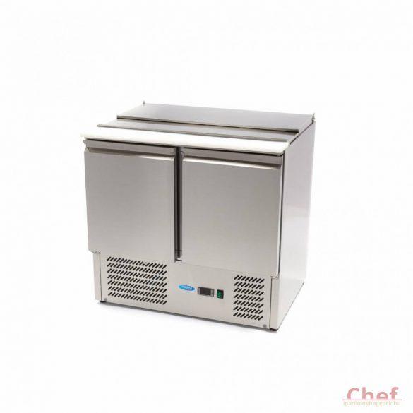Maxima Ipari hűtött munkaasztal, Saladette SAL900 SLT, hűtőszekrény, 2 ajtós, 257l