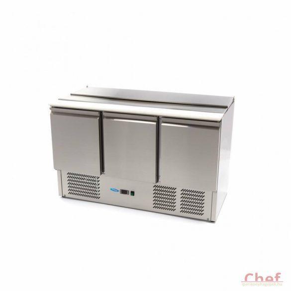Maxima Ipari hűtött munkaasztal, Saladette SAL903 SLT, hűtőszekrény, 3 ajtós, 400l