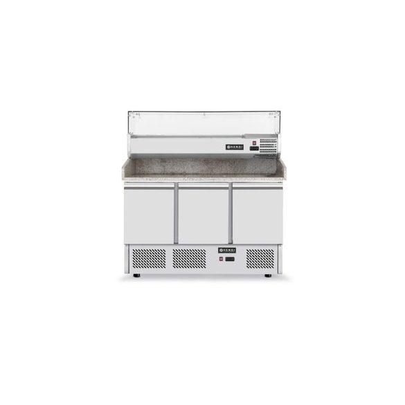 HENDi Ipari Pizza hűtő asztal, 3 ajtós, Mérete:  1400x700x(H)1445