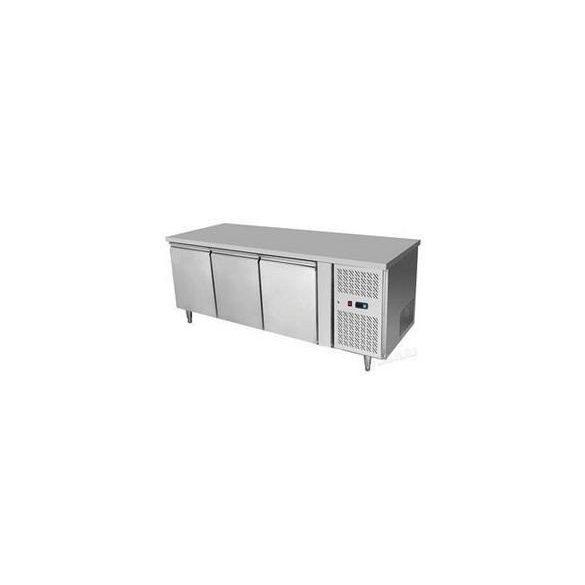 HENDi Ipari hűtött munkaasztal, Asztali fagyasztó hűtőszekrény 2 ajtós, Mérete: 1360x700x(H)850