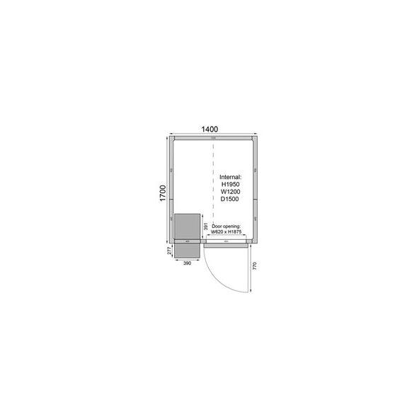 TEFCOLD hűtőkamra egyszerű telepítés,1400*1700mm