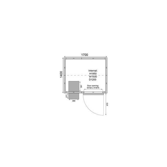 TEFCOLD hűtőkamra egyszerű telepítés 1700*1400mm