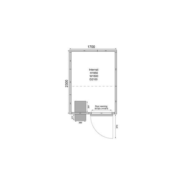 TEFCOLD fagyasztó hűtőkamra egyszerű telepítés,1700*2300mm