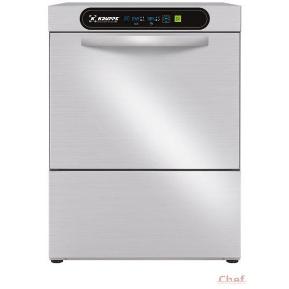 KRUPPS ipari mosogatógép C537, Pohár és tányérmosogató gép 230V, 3,12kW, Öblítő és mosogatószer adagolóval, lefolyó szivattyú külön rendelhető