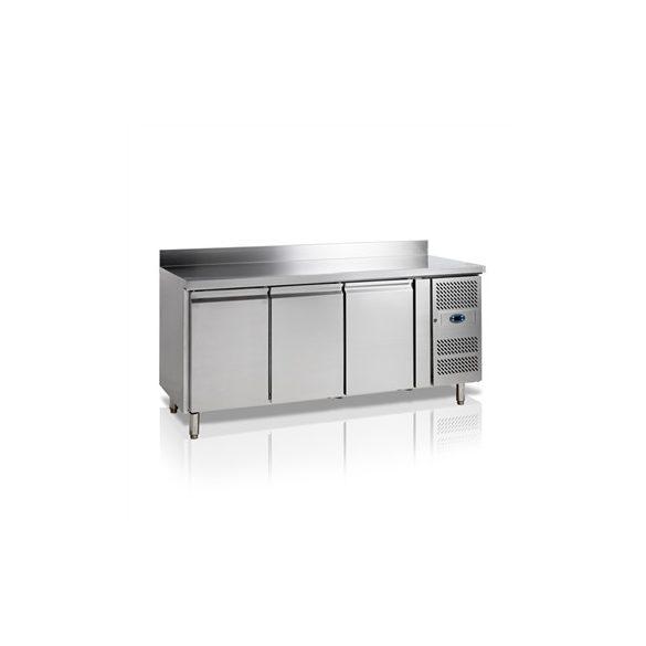 TEFCOLD Ipari hűtött munkaasztal, Asztali fagyasztó hűtőszekrény, Mérete: 1795x700x(H)880, 3 ajtó GN1/1