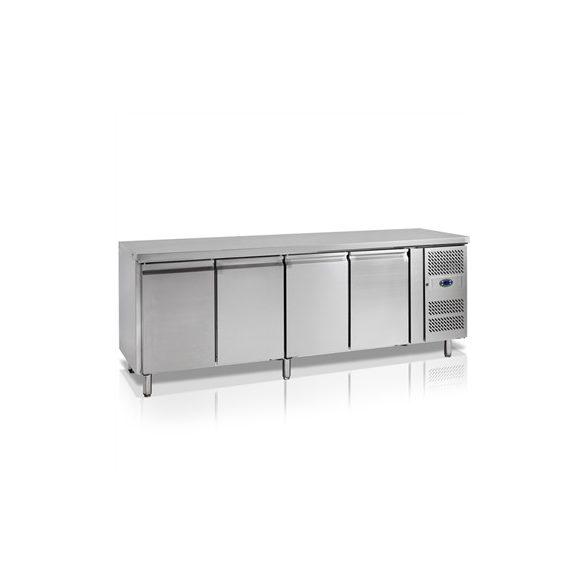 TEFCOLD Ipari hűtött munkaasztal, Asztali fagyasztó hűtőszekrény, Mérete: 2230x700x(H)880, 4 ajtó GN1/1